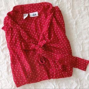{vintage} polkadot bow blouse